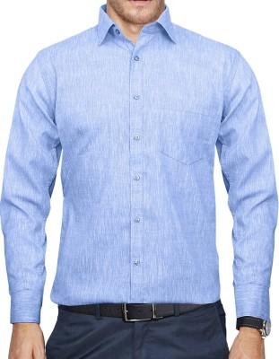 Lamando Men's Self Design Formal Blue Shirt