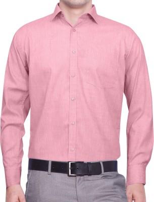 Lamando Men's Solid Formal Pink Shirt