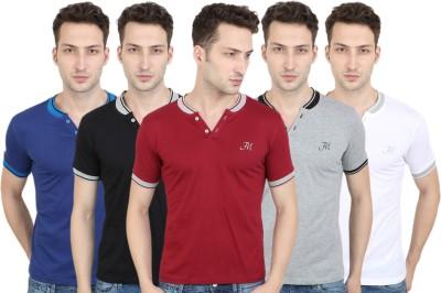 FM Fashionmania Solid Men Henley Maroon, Grey, Black, White, Blue T-Shirt(Pack of 5)