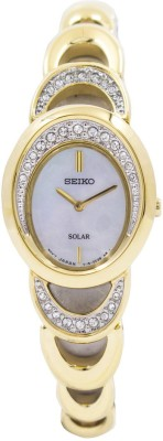 Seiko Solar Analog Mother Of Pearl Dial Women's Watch, SUP298P1