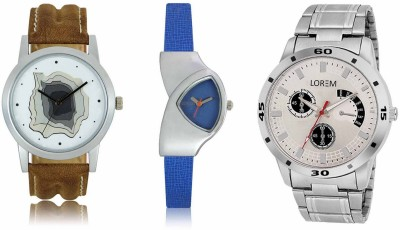 Shivam Retail LR09-101-208 New Latest Collection Metal & Leather Strap Men & Women Combo Watch  - For Boys & Girls