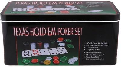 HOW TEXAS HOLD'EM POKER SET GAME 200 CHIPS (TIN CASE SAFE PACK)(Multicolor)  available at flipkart for Rs.609