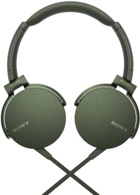 Sony XB550AP Wired Headset with Mic(Green, Over the Ear)