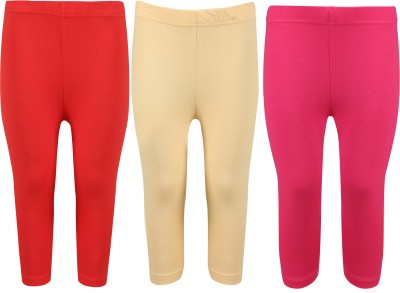 Greenwich Capri For Girls Casual Solid Cotton(Multicolor Pack of 3) Flipkart