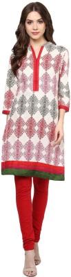 Rangmanch by Pantaloons Women Printed Straight Kurta(Red, White)