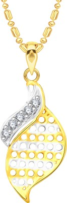 VK Jewels Leaf 18K Yellow Gold Cubic Zirconia Alloy Pendant