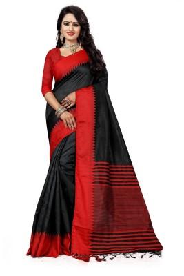 The Fashion Outlets Self Design, Plain Kanjivaram Cotton, Silk Saree(Black)