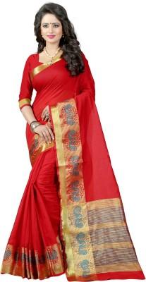 The Fashion Outlets Self Design, Plain Kanjivaram Cotton, Silk Saree(Multicolor)