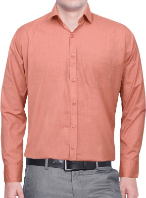 Lamando Men's Solid Formal Orange Shirt