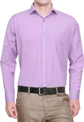 Lamando Men's Solid Formal Purple Shirt