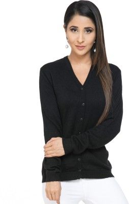 Modeve Solid V-neck Casual Women Black Sweater