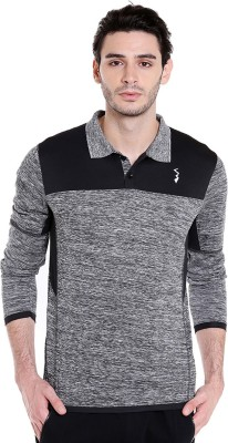 Campus Sutra Color block Men Polo Neck Grey T-Shirt at flipkart