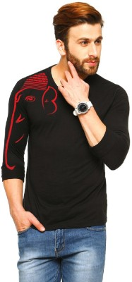 Tripr Printed Men V-neck Black T-Shirt