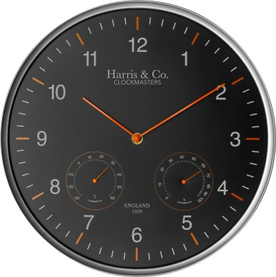 Harris & Co. Clockmasters Analog Wall Clock(Metallic, With Glass)