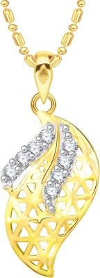 VK Jewels Well Crafted Leaf 18K Yellow Gold Cubic Zirconia Alloy Pendant
