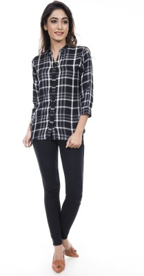 Amadore Women Checkered Casual Black, White Shirt