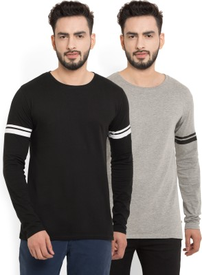 Billion PerfectFit Solid Men Round or Crew Black, Grey T-Shirt(Pack of 2)