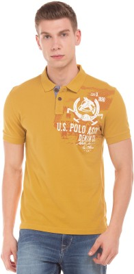 U.S. Polo Assn Printed Men Polo Neck Yellow T-Shirt