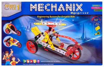 Bonkerz Mechanix Robotix 1 Extra Fun 114 Pieces Motor Skill Development Kit for Boys and Girls(Multicolor)  available at flipkart for Rs.999
