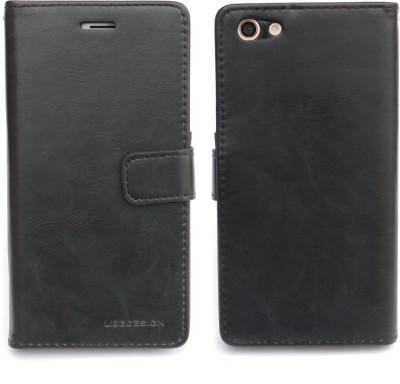 Fashion Flip Cover for Oppo F3(Black)