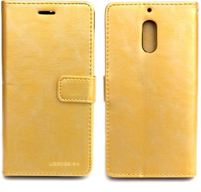 Fashion Flip Cover for Nokia 6(Gold)