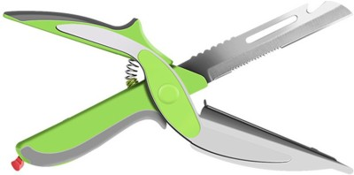 wishpool Clever Cutter 2 In 1 Multi-Function Kitchen Scissors Cutter Knife&Board Stainless Steel Vegetable Cutter green Chopper(Green)  available at flipkart for Rs.299