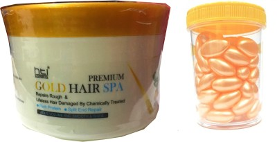 HTI PREMIUM ORGANIC GOLD HAIR SPA WITH 60 IMPORTED HAIR SPA CAPSULES(Set of 2)  available at flipkart for Rs.599