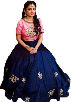 c25179f1ff 81% OFF on Mert India Embroidered Lehenga Choli(Blue, Pink) on Flipkart    PaisaWapas.com