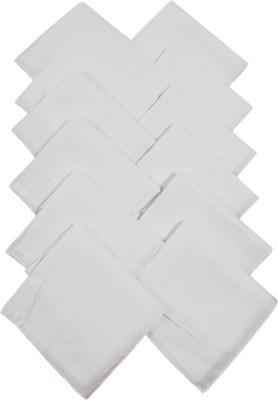 Modish vogue Set of 12 white handkerchiefs Handkerchief(Pack of 12)