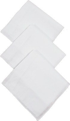 Modish vogue Set of 3 white handkerchiefs Handkerchief(Pack of 3)