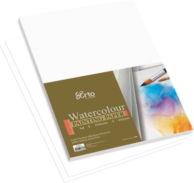 Campap Arto Cold Pressed  Medium Surface , 100% Cotton A4 Watercolor Paper Set of 1, White