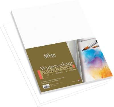 Campap Arto Cold Pressed  Medium Surface , 100% Cotton A3 Watercolor Paper Set of 1, White