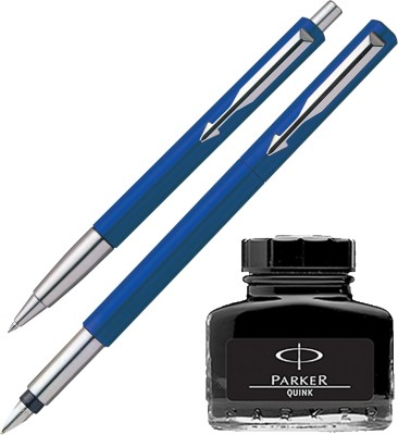 Parker Vector Standard Sets Fountain Pen Ball Pen - Blue with Black Quink Ink Bottle(Pack of 3)  available at flipkart for Rs.560
