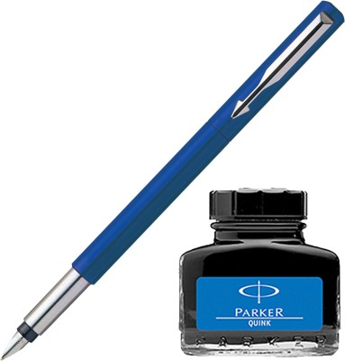 Parker Vector Standard CT Fountain Pen - Blue with Blue Quink Ink Bottle(Pack of 2)  available at flipkart for Rs.410