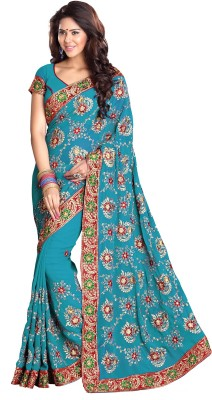 Mirchi Fashion Embroidered Bollywood Synthetic Georgette Saree(Light Blue)