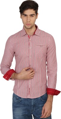 Calvin Klein Men's Striped Casual Red, White Shirt  available at flipkart for Rs.1999
