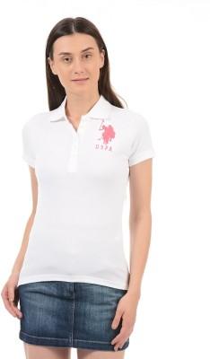 26c005f1 Buy U.S. Polo Assn Solid Women Polo Neck White T-Shirt on Flipkart    PaisaWapas.com