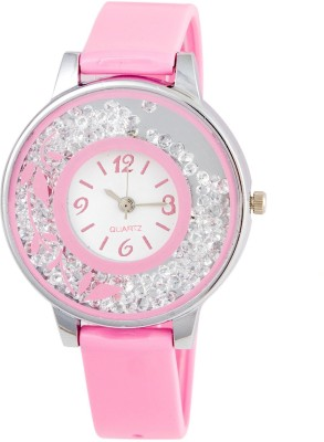 keepkart Pink Flower Print Dial Movable Diamond PU Strap Analouge Watch For Women And Girls Watch  - For Girls