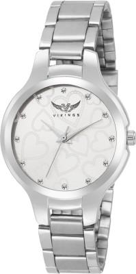 VIKINGS LADIES BEADS SMALL HEARTS VK-LR-021-WHT-CHN ANALOG WATCH DIAMOND Watch  - For Girls   Watches  (VIKINGS)
