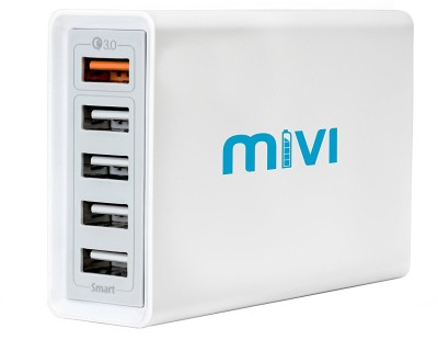 Mivi Desktop USB Charging Station HUB: [ Qualcomm® Quick Charge™3.0 certified] 5 port 8A USB Turbo charging adapter with fast charging and turbo charging compatible with all mobiles, tablets and more (Silver) Mobile Charger(Silver/White)