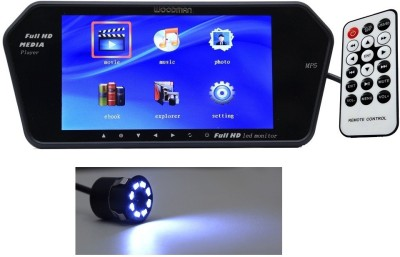 Auto Stuff 7 inch HD Rear View Mirror Screen, Bluetooth, USB, SD Card Black LED(17.78 cm)