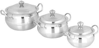 Premium Designer 3Pcs handi Cookware Set-Silver Touch Cookware Set(Stainless Steel, 6 - Piece)
