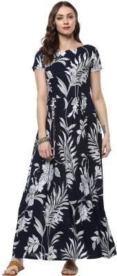 Indian Virasat Women Maxi Dark Blue Dress