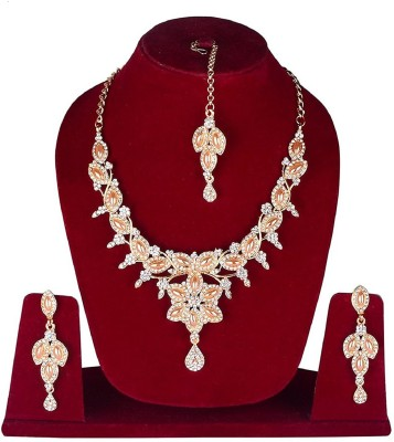 Fully Alloy, Crystal, Stone Jewel Set(Orange, White, Gold) Flipkart
