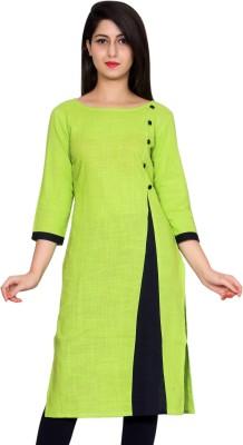 FabTag  - Krapal Women Printed Straight Kurta(Green, Black)