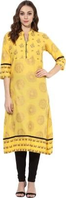 Mytri Printed Women's A-line Kurta(Yellow)