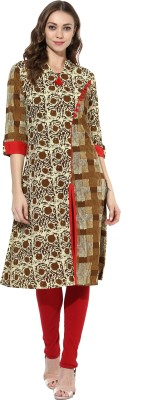 Mytri Printed Women's A-line Kurta(Beige, Brown)