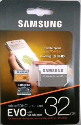 Samsung Evo 32GB 95 MB/s 32 GB MicroSDHC Class 10 95 MB/s  Memory Card(With Adapter)