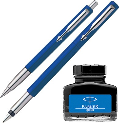 Parker Vector Standard Sets Fountain Pen Ball Pen - Blue with Blue Quink Ink Bottle(Pack of 3)  available at flipkart for Rs.560