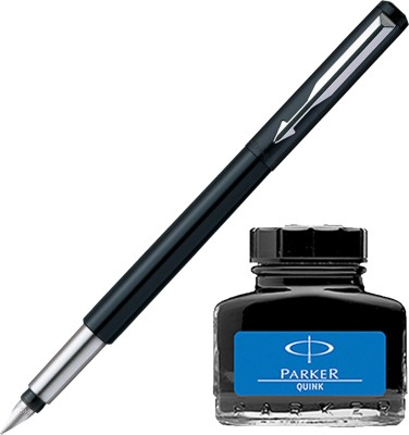 Parker Vector Standard CT Fountain Pen - Black with Blue Quink Ink Bottle(Pack of 2)  available at flipkart for Rs.410